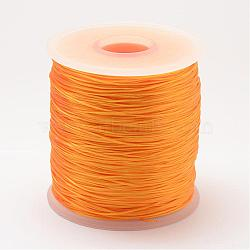 Chaîne de cristal élastique plat, fil de perles élastique, pour la fabrication de bracelets élastiques, orange, 0.8 mm; 500 m / rouleau(OCOR-P002-09)