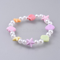 bracelets stretch enfants, avec perle acrylique imitée et perles acryliques colorées, coquillages et étoiles de mer / étoiles de mer, coloré, 1-5 / 8 (4.3 cm)(BJEW-JB04572-01)