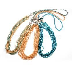 platine plaqué à double usage, colliers de perles de verre et perles de rocaille étagées, colliers en couches, fermoirs magnétiques en alliage de strass, couleur mélangée, 33.89(NJEW-E026-M)