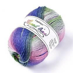 Wool Knitting Yarn, Segment Dyed, Crochet Yarn, Colorful, 1mm; about 400m/roll(YCOR-F001-07)