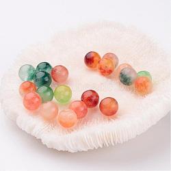perles de jade naturelles deux tons, teints, arrondir, couleur mélangée, 8 mm; trou: 1 mm(X-G-R165-8mm-M1)