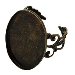 Laiton réglable composants d'anneau en filigrane, bases d'anneau pad, pour les anneaux antiques faisant, bronze antique, 18x25mm, diamètre intérieur: 18 mm(X-KK-A009-AB)