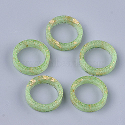 кольца из эпоксидной смолы, золотой фольгой, светящиеся / светящиеся в темноте, lawngreen, Размер 7, 17 mm(RJEW-T007-01B-06)