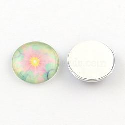 Cabochons à dos plat en verre à motif demi-rond/dôme pour projets de bricolage, violette, 10x3.5mm(GGLA-Q037-10mm-19C)