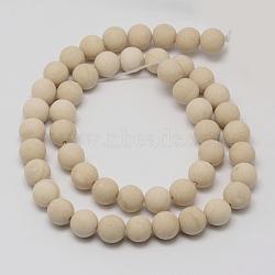 """Perles en fossile naturelle, mat, rond, 10mm, trou: 1mm; environ 38 pcs/chapelet, 14.9""""(G-D694-10mm)"""