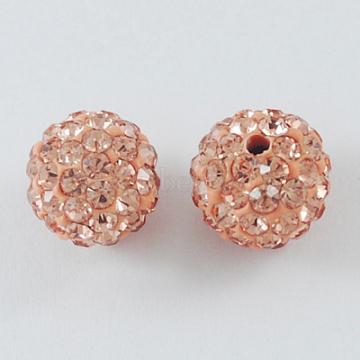 Perles de boule pavé disco , Perles de strass en argile polymère, rond, Light Peach, 10mm, Trou: 1.5mm(X-RB-A130-10mm-15)