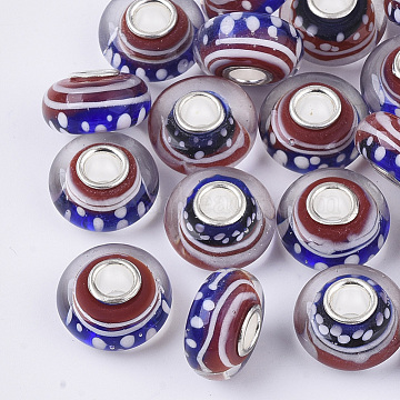 Handmade Lampwork European Beads, Large Hole Beads, with Platinum Color Brass Single Cores, Rondelle, Colorful, 14x7.5mm, Hole: 4mm(LAMP-S193-003A)