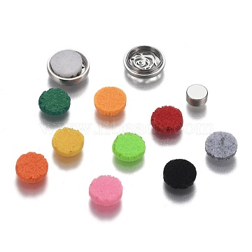 304 Stainless Steel Diffuser Locket Aromatherapy Essential Oil, with Perfume Pad, Perfume Button for Face Mask, Flat Round with Rose, Mixed Color, 12x5mm(AJEW-N025-08P)