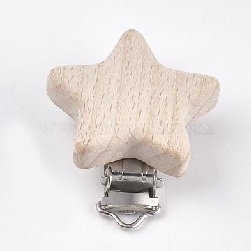 Beech Wood Baby Pacifier Holder Clips, with Iron Clips, Star, Platinum, BurlyBeech Wood, 52x44x18.5mm, Hole: 3.5x6mm(X-WOOD-T015-09)