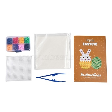 8 Colors DIY Fuse Beads Kit, with Square Shape ABC Plastic Pegboards, Ironing Paper and Plastic Tweezers, Mixed Color, 5x5mm, Hole: 3mm; 480pcs(DIY-X0295-01A-5mm)
