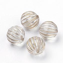 placage perles acryliques transparentes, pour la fabrication de bracelets et de bijoux, métal doré enlaça, rond ondulé, effacer, 9.5 mm, trou: 1.5 mm(X-PACR-Q115-60-10mm)