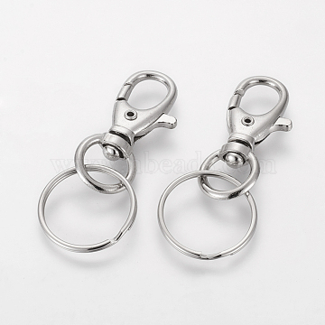 Iron Swivel Clasps with Key Rings, Platinum, 25x60mm(HJEW-H018-P)