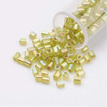 11/0 Two Cut Round Hole Glass Seed Beads, Hexagon, Silver Lined, Rainbow Plated, Green Yellow, 2x2mm, Hole: 0.5mm, about 41000pcs/pound(SEED-G006-2mm-648)
