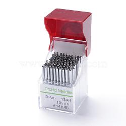 Иглы орхидеи для швейных машин, dpx 5 # 14 (90), платина, контактный: 0.9 мм; 38.5x2 мм, Отверстие: 0.5 мм; О 10 шт / карта, 10 карточки / коробка(IFIN-R219-56-B)