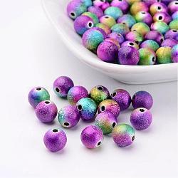 Perles acryliques jet rond coloré peints mélangent, Style mat, couleur mixte, environ 8 mm de diamètre, Trou: 1.9mm(X-PB25P9284)