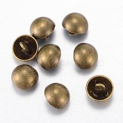 Boutons en alliage, 1-trou, dôme / demi-rond, de style tibétain, bronze antique, 11.5x10mm, Trou: 1.5mm(BUTT-D054-11.5mm-06AB)