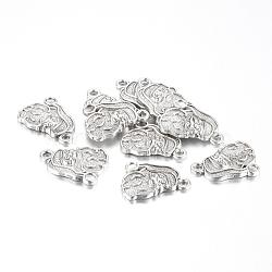 Supports de cabochon de style tibétain en émail, sans plomb et sans cadmium, le père noël, pour noël, argent antique, 19x13.5x3mm, Trou: 2mm(X-TIBEP-GC105-AS-RS)