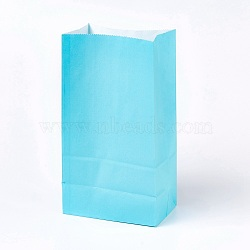 Sac en papier kraft de couleur pure, sacs de stockage de nourriture, pas de poignées, pour la fête d'anniversaire de baby shower kid, bleu ciel, 23.5x13x8 cm(CARB-WH0008-03)