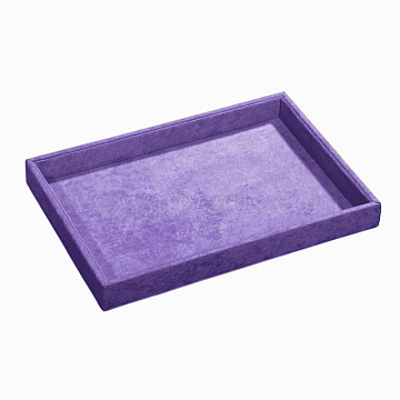 Synthetic Wood Jewelry Displays, Covered with Velvet, Lilac, 350x240x32mm(ODIS-N008-06B)