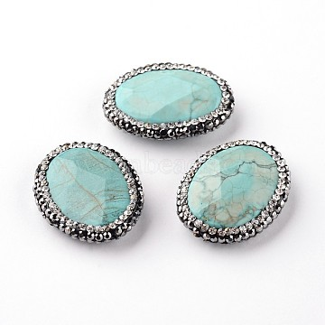 29mm Clear Oval Howlite Beads