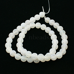 Natural Crackle Agate Beads Strands, Dyed, Round, Grade A, White, 4mm, Hole: 0.8mm; about 93pcs/strand, 15inches
