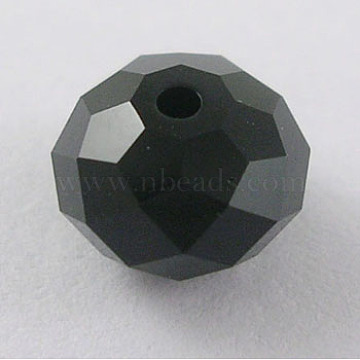 Austrian Crystal Beads, 5040 8mm, Faceted Rondelle, Jet, Size: about 8mm in diameter, 6mm thick, hole: 1mm(5040_8mm280)