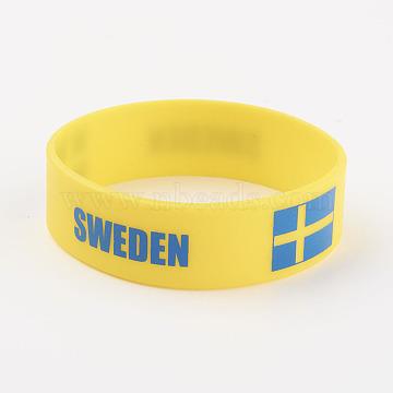 Silicone Wristbands Bracelets, Cord Bracelets, Sweden, Yellow, 202x19x2mm(BJEW-K168-01H)