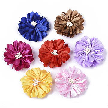 Non-Woven Fabric Flowers, Wedding Ornament Appliques, for DIY Headbands Flower Accessories, Mixed Color, bottom: 20mm, 50x20mm(X-FIND-R077-M)