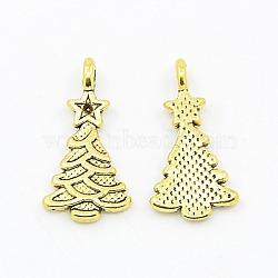 Pendentifs de style tibétain , sans plomb et sans cadmium et sans nickel, arbre de Noël, Or antique, environ 11 mm de large, Longueur 21mm, Trou: 1mm(X-GLF0062Y-NF)