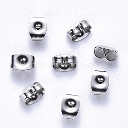 304 Stainless Steel Ear Nuts, Earring Backs, Stainless Steel Color, 6x4x3mm, Hole: 0.9mm(STAS-S113-001)