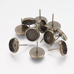 Laiton supports pour dormeuses, sans nickel, bronze antique, 10mm, Plateau: 8 mm, pin: 0.5 mm d'épaisseur(X-KK-I001-AB-NF)