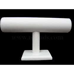 Wood and Cardboard Bracelet T Bar Display Stand, White, about 14.5cm wide, 24cm long; Tube: about 5cm wide, 24cm long(X-S009-1)