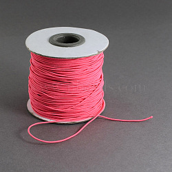 Round Elastic Cord, with Nylon Outside and Rubber Inside, LightCoral, 1mm; 100m/roll(EC-R001-1mm-017A)