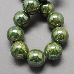 Handmade Porcelain Beads, Pearlized, Round, Olive Drab, 20mm, Hole: 5mm(X-PORC-Q196-20mm-1)