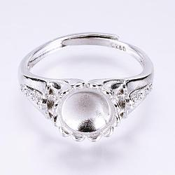Adjustable Brass Finger Ring Components, Long-Lasting Plated, with Cubic Zirconia, Real Platinum Plated, Size 8, Tray: 8mm; 18mm(KK-L154-02P)