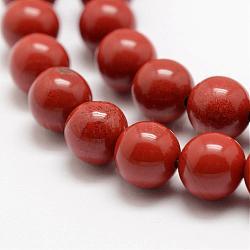 """Chapelets de perles en jaspe rouge naturel, AA grade, rond, 8mm, trou: 1mm; environ 49 pcs/chapelet, 15.5"""" (39 cm)(G-E375-8mm-02)"""