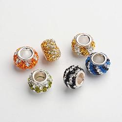 rondelle 925 en argent sterling avec strass tchèque, gros trou perles européennes, couleur mélangée, 10.5x7.5 mm, trou: 4 mm(CPDL-F001-M)