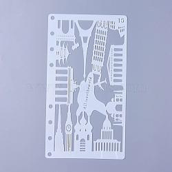gabarits de dessin en plastique, batiment, blanc, 17.4x9.6x0.02 mm(DIY-WH0143-18O)