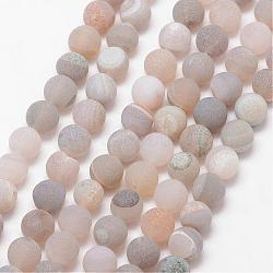 Natural Druzy Geode Agate Bead Strands, Frosted, Round, Dyed & Heated, Grade A, Tan, 8mm, Hole: 1mm; about 47pcs/strand, 15inches