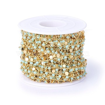 Handmade Faceted Glass Beaded Chains, Soldered, with Brass Findings, Real 18K Gold Plated, Long-Lasting Plated, with Spool, Light Cyan, 7~7.5x3x2~2.5mm, about 32.8 Feet(10m)/roll(CHC-P007-C01)