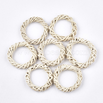 Handmade Reed Cane/Rattan Woven Linking Rings, For Making Straw Earrings and Necklaces, Ring, AntiqueWhite, 46~55x8~10mm, Inner Diameter: 31~37mm(X-WOVE-T006-003B)