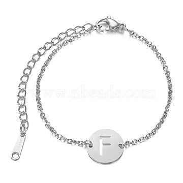 201 Stainless Steel Link Bracelets, with Cable Chains and Lobster Claw Clasps, Flat Round with Letter, Letter.F, 6 inches~6-3/4 inches(15~17.5cm); 1.5mm(STAS-T040-JN007-F)