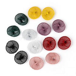 Spray Painted Environmental Iron Wire Beads, Flat Round, Mixed Color, 28~30x25~28x9mm(X-IFIN-T009-04-M)