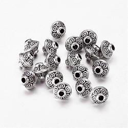 Perles intercalaires en alliage bicône argenté de style tibétain, accessoires en métal pour bricolage, sans plomb et sans cadmium et sans nickel, environ 7 mm de large, 6.5 mm de long, trou: 1 mm
