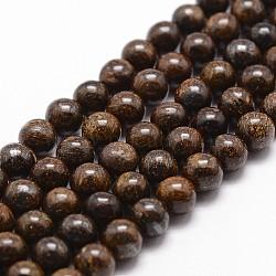 Bronzite naturel brins de perles, rond, 10mm, trou: 1mm; environ 38 pcs/chapelet, 14.9''~15.1''(G-D840-57-10mm)