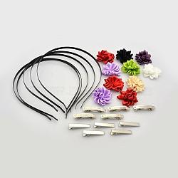Bandes de cheveux de fer, Accessoires à cheveux en alligator plat en fer, accessoires du clip de cheveux françaises, faits à la main de fleurs tissé accessoires de costumes, couleur mixte, bandes de cheveux fer: 112 mm(MAK-X0003)