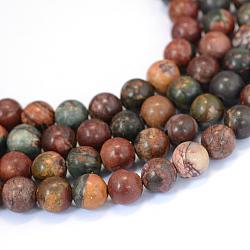 """Pierre naturelle picasso / perles de jaspe picasso, rond, 8~8.5mm, trou: 1mm; environ 47 pcs/chapelet, 15.5""""(X-G-E334-8mm-10)"""