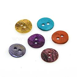 Boutons de nacre, bouton shell akoya, teint, plat rond, couleur mixte, 10x1mm, Trou: 1.5mm(SHEL-J001-M05)