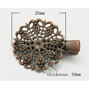 Iron Alligator Hair Clip Findings, with Brass Filigree Flower Tray, Red Copper, 35x25x10mm(X-PHAR-B014-R)