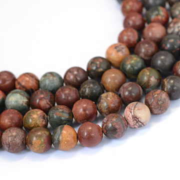 Natural Picasso Stone/Picasso Jasper Beads Strands, Round, 8~8.5mm, Hole: 1mm; about 47pcs/strand, 15.5inches(X-G-E334-8mm-10)